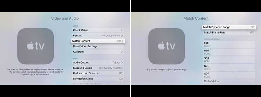 Apple TV 4K mode switching