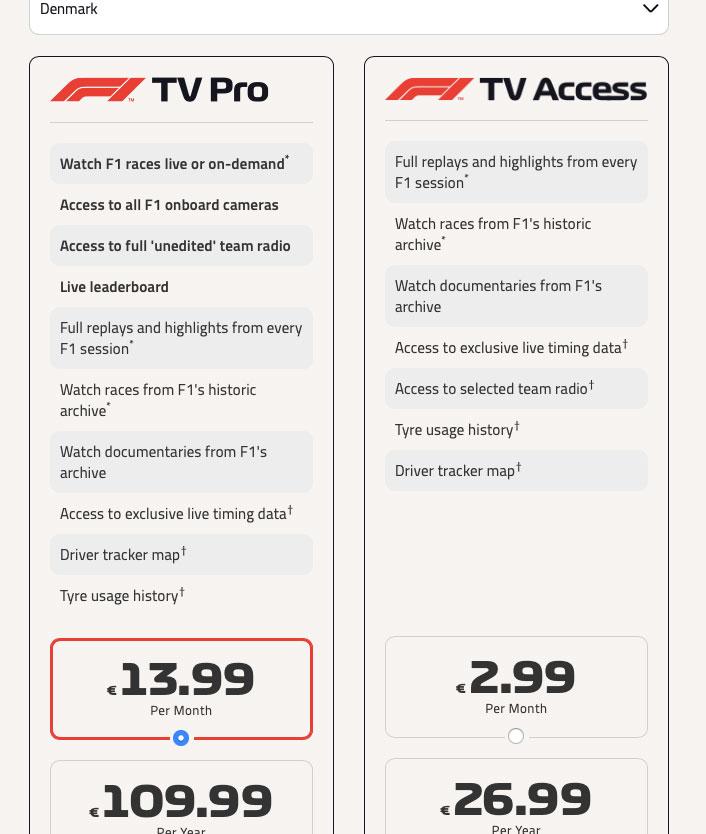 Formel 1 streamingtjeneste åbner i dag i Danmark - koster