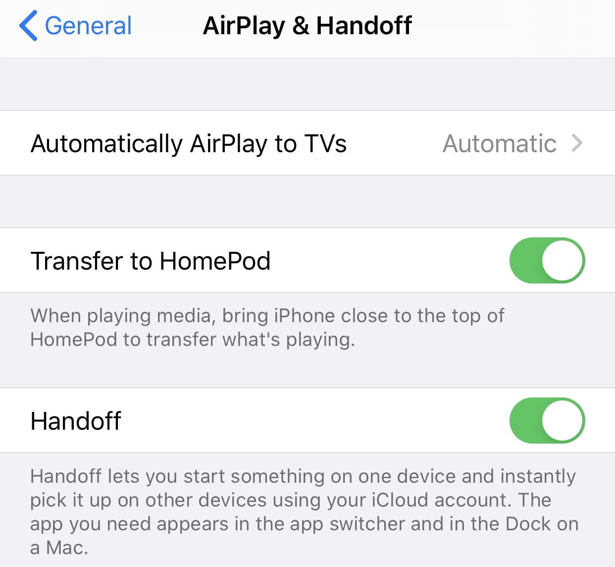 AirPlay & Handoff iOS 13.2