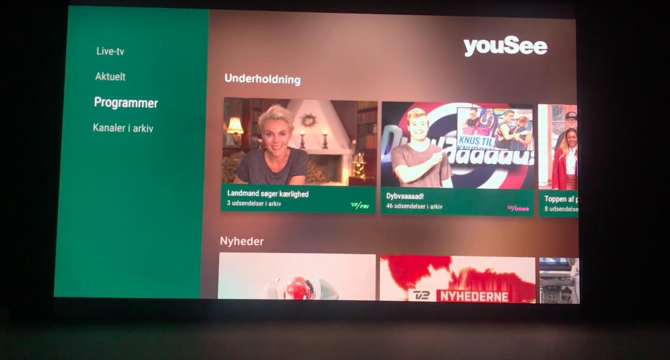 Yousee tv & film app klar til apple tv4.
